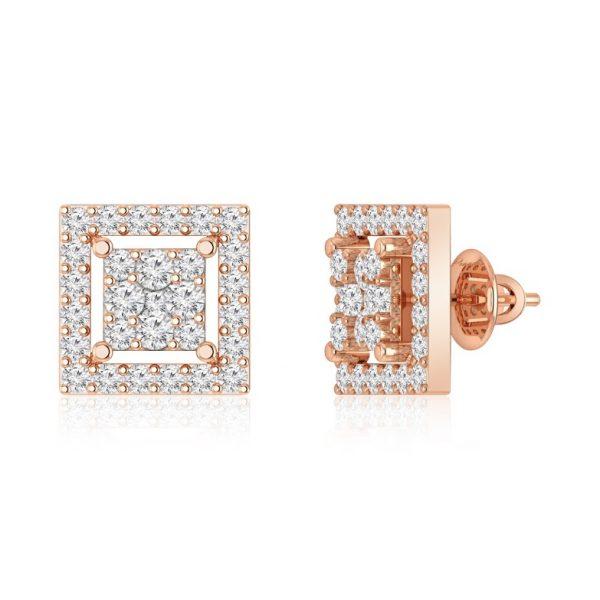 Diamond Studs Earrings | HANITA | 14kt Rose Gold