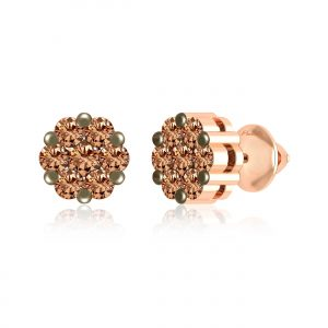 Brown Diamond Earrings | KIKI-FIORELLA Diamond Studs | Rose Gold