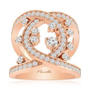 Supreme Cocktail Ring, White Diamond, 14Kt Rose Gold