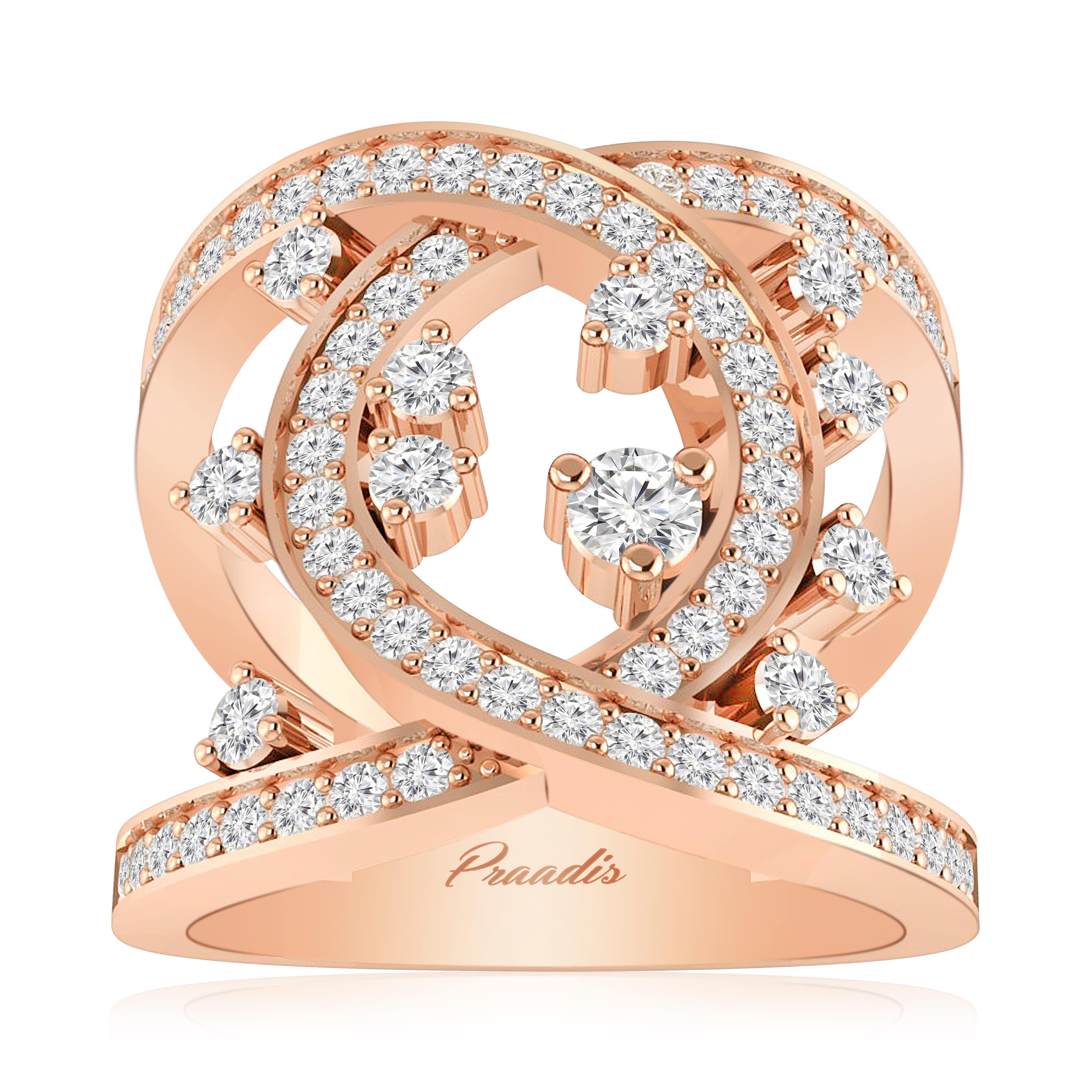 Fantastic Supreme Cocktail Ring | White Diamond | 14Kt Rose Gold NI32