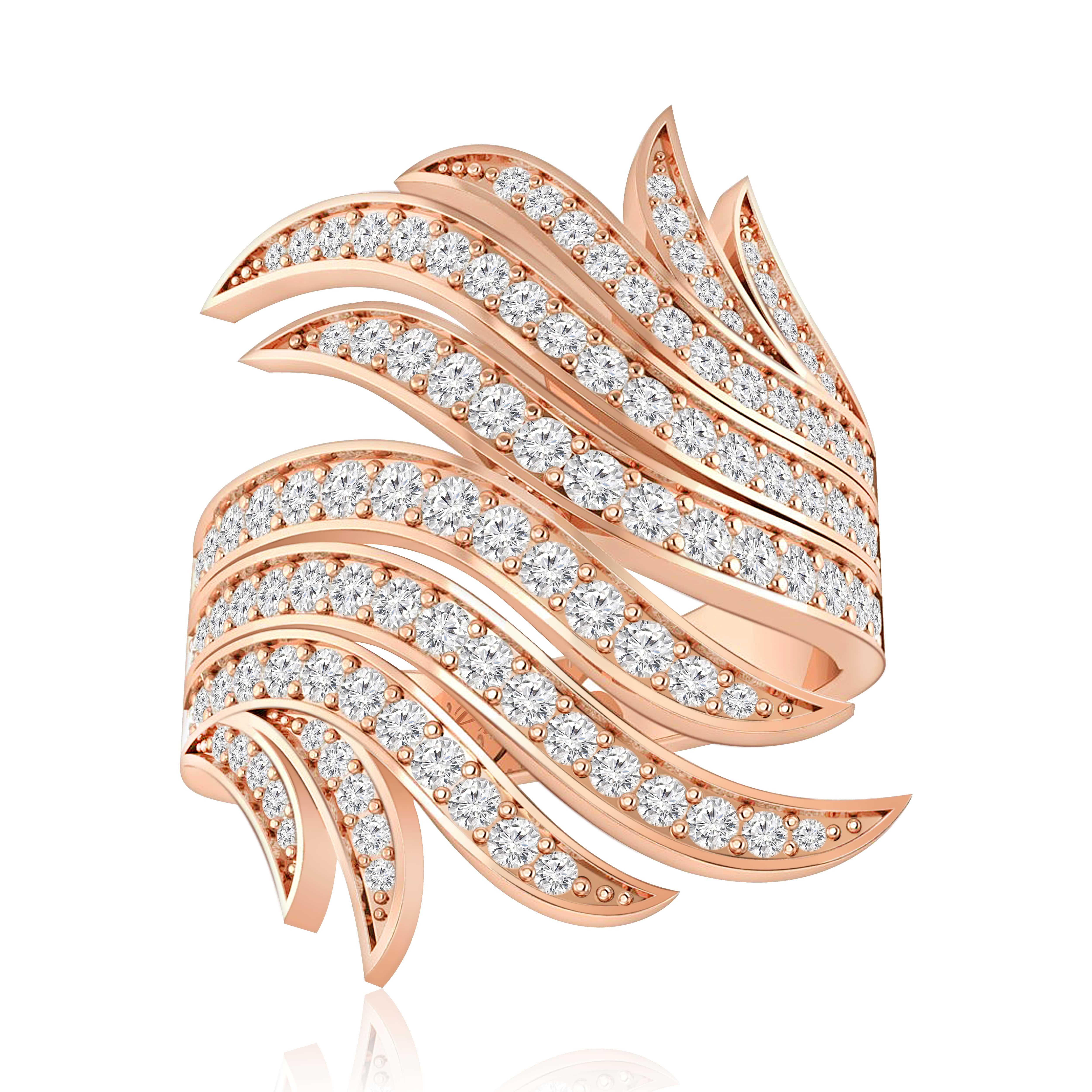Completely new Jennifer White Diamond | Cocktail Ring | 14Kt Rose Gold KA54