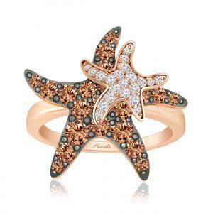 Starry Cocktail Ring | 14Kt Rose Gold | White Diamond | Praadis