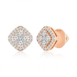 Pankhuri Studs Earring | White Diamond | 14Kt Rose Gold