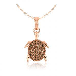 Kalysta Cluster Pendant | | 14Kt Rose Gold | Gold Diamond | Praadis